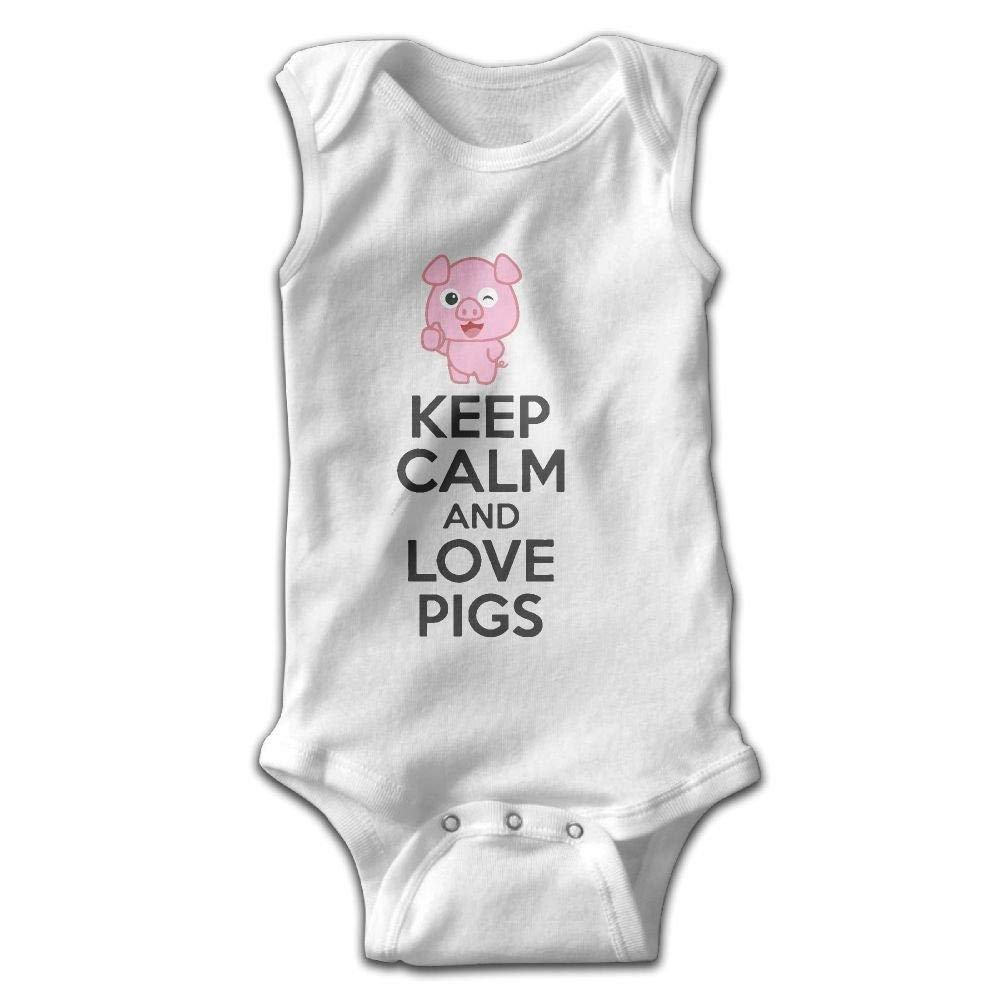 b01f3748a09 Amazon.com  Keep Calm and Love Pigs Infant Baby Boys Girls Crawling Clothes  Sleeveless Onesie Romper Jumpsuit White  Clothing