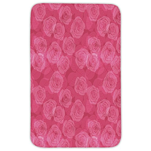 Rectangular Area Rug Mat Rug,Rose,Shades of Pink with Gentle Seasonal Flora Romance Love Theme Valentines Day Inspired Design Decorative,Pink,Home Decor Mat with Non Slip Backing by iPrint