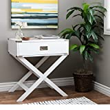 Cheap ModHaus Living Modern Wood Accent X Base Nightstand Campaign Sofa Table Rectangle Shaped with Storage Drawer – Includes Pen (White)