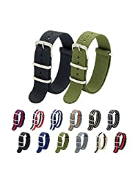 Nato Strap Pack of 2 18mm 20mm 22mm Premium Ballistic Nylon Watch Bands with Stainless Steel Buckle Top Spring Bar Tool and 4 Spring Bars (Black+Army Green, 22mm)