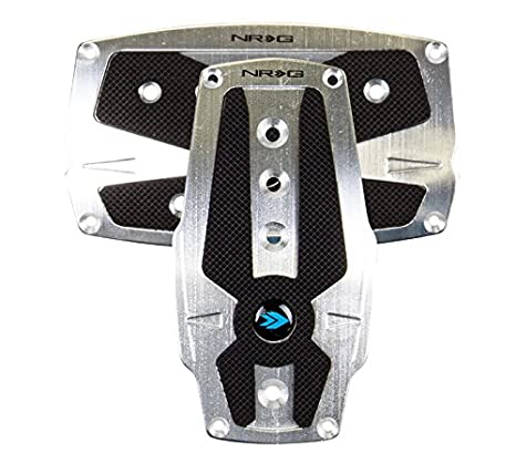 NRG Innovations PDL-250RD Brushed Red Aluminum Sport Pedal with Black Rubber Inserts AT