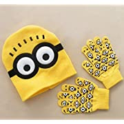Amazon Lightning Deal 94% claimed: Despicable Me Minions Spider-man Knit Caps & Gloves 2016 New Cartoon Winter Knitted Kids Girls Boys Hats Gloves Children Christmas Gift