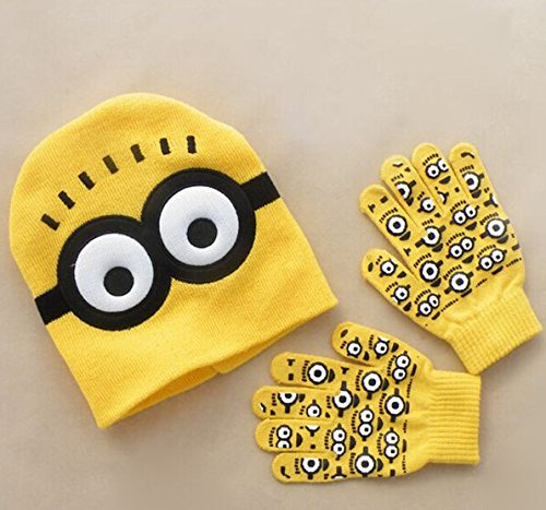 Amazon Lightning Deal 78% claimed: Despicable Me Minions Spider-man Knit Caps & Gloves 2016 New Cartoon Winter Knitted Kids Girls Boys Hats Gloves Children Christmas Gift