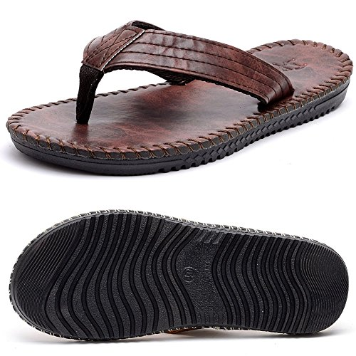 dbf4f3134 hot sale 2017 Odema Men Pu Leather Summer Beach Sandal Slippers Flat Flip  Flops
