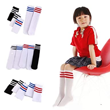 4e20b215c43 Toddler Soccer Socks Baby Casual Cotton High Knee Kawaii Tube Uniform  Athletic Triple Stripes Stockings For