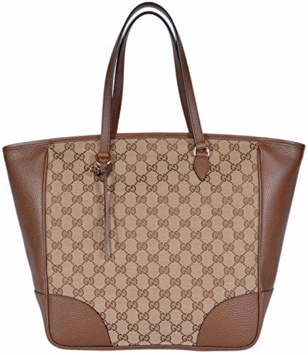 Gucci Women's Large Canvas Leather Bree GG Guccissima Handbag Tote (Beige/Brown 449242)