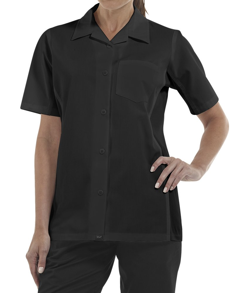ChefUniforms.com Women's Kitchen Shirt with Mesh Sides (XS-3X, 2 Colors) (XX-Large, Black)