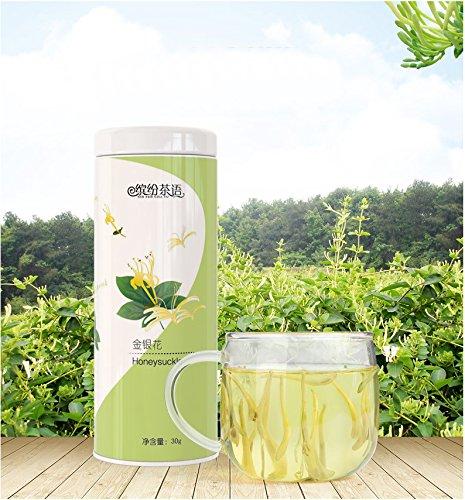 Dry Organic Honey - HEKUNDA Honeysuckle Tea Dried Herbal Tea 100% Natural and Organic - 30 g Chinese Flower Tea