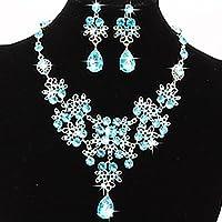 Lanhui New Fashion !!! Prom Wedding Bridal Jewelry Crystal Rhinestone Necklace Earring Sets (Light Blue)
