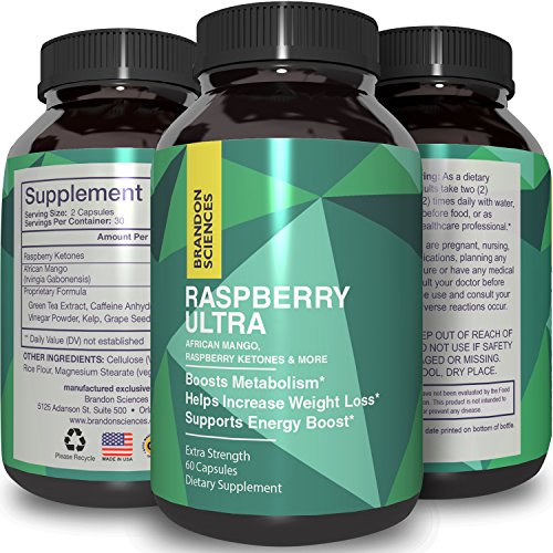 Raspberry Ketones + African Mango Weight Loss Pills for Women & Men Fat Burning Dietary Supplement Capsules Pure Apple Cider Vinegar Antioxidant Vitamin Rich Green Tea by Brandon Sciences
