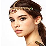 YAZILIND Ladies Head Chain Design Fans Shape Forehead Hair Headpiece