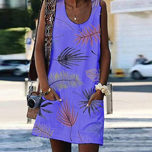 Women's Casual Dress Sleeveless Bohemian Dress Classic Refined Tunic Leaf Vintage Printed Pockets Sundress Size S-2XL (XL, Purple) by Sengei (Image #1)