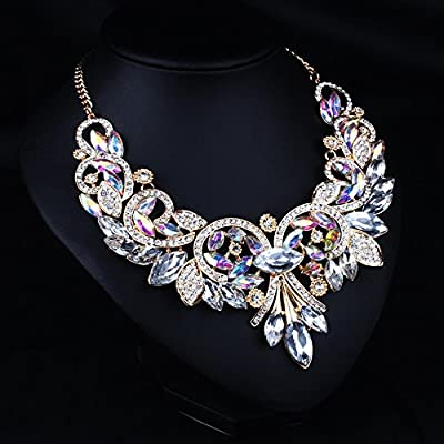 Girl Era Womens Colorful Rhinestone Crystal Queen Costume Jewelry Bib Statement Necklace