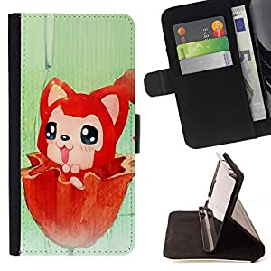 Momo Phone Case / Flip Funda de Cuero Case Cover - Red Fox lindo - Motorola Moto E ( 2nd Generation )