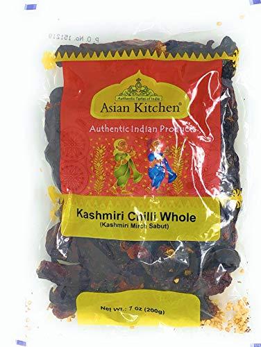 Asian Kitchen (By Rani Brand) Kashmiri Chilli Whole, Low Heat Indian Chilli 7oz (200g) ~ All Natural   Vegan   Gluten Free Ingredients   NON-GMO   Indian Origin