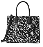 MICHAEL Michael Kors Mercer Large Leopard Leather Tote Bag , Black White