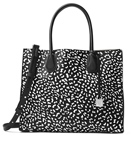 MICHAEL Michael Kors Mercer Large Leopard Leather Tote Bag, Black White