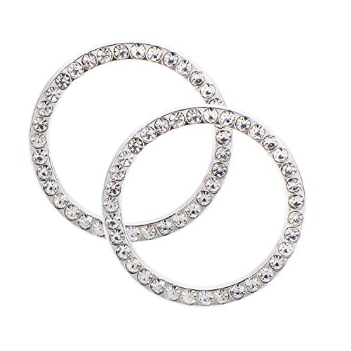 eBoot Auto Start Decor Rhinestone Car Engine Start Stop Decoration Crystal Interior Ring Decal for Vehicle Ignition Button, 2 Pack (Decorations For Cars)