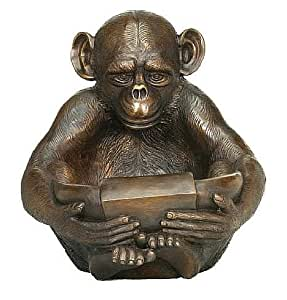 Bronze Large Chimpanzee Monkey Sculpture and Planter