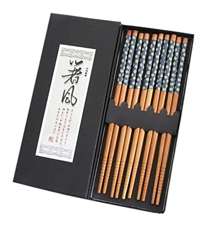 AUCH 5 Pairs Japanese Sakura Bamboo Chopsticks Gift Set Blue B00YIPMI8U