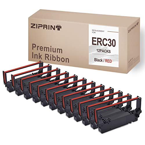 12-Pack ERC30 ERC 30 34 38 Ribbons BR Compatible with Ribbon Cartridge for ERC38 ERC34 ERC30 (Black Red)