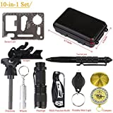 Teaker Professional Outdoor Survival Kit,10 in 1 Professional Emergency Survival Kits Tools with Fire Starter Whistle Survival Knife Flashlight Tactical Pen etc For Outdoor Travel Hike Field Camp