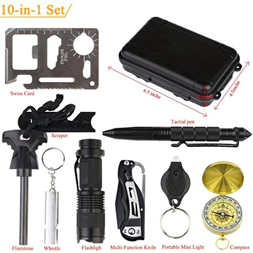 Outdoor-Survival-Gear-Kit-10-in-1-OMNi-Professional-Emergency-Survival-EDC-Tool-with-Fire-Starter-Whistle-Survival-Knife-Flashlight-Tactical-Pen-etc-for-Outdoor-Travel-Hike-Field