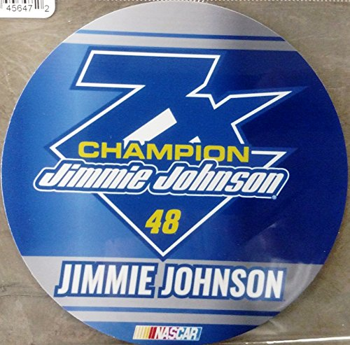 "Jimmie Johnson 7x Champion DECAL RR 4"" Round Vinyl Auto Home Glass Nascar Racing"