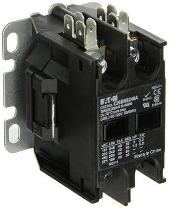 Eaton C25BNB240A Compact Definite Purpose Contactor, 40A Inductive Current Rating, 3 Max HP Rating at 115V, 7.5 Max HP Rating at 230V, 120VAC Coil Voltage