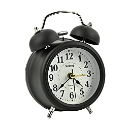Alarm Clock, Mokeep 3 Inch Small Non-ticking Vintage Classic Bedside /Table Analog Alarm Clock with Backlight , Battery Operated Travel Clock, Round Twin Bell Loud Alarm Clock for kids (Black)