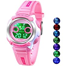 Multi Coloured Lights Time Teacher Watch for Girls Digital Sports Waterproof Kids Girls Watches Pink, for Age 3-8