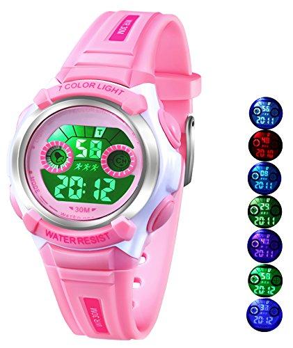 AZLAND 7 Colors Flashing Waterproof Outdoor Sports Kids Wristwatch Boys Girls Digital Watches Blue ... (Pink)