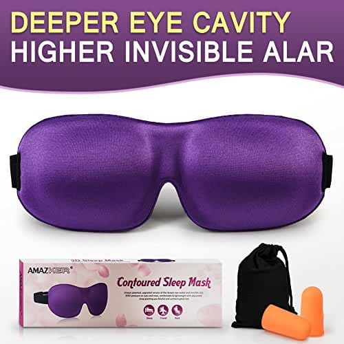 AMAZKER 3D Sleep Mask Upgraded Invisible Alar & Deep Orbit Eye Mask for Sleeping Anti-fade Anti-bacterial Anti-mite Contoured Face Mask Blindfold with Ear Plugs Travel Pouch Best Night Eyeshade