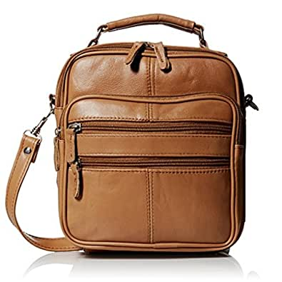 Roma Leathers Light Brown Leather Travel Organizer Crossbody Shoulder Bag