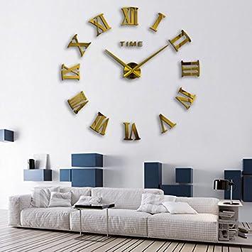 DIY pared romano relojes Fashion 3d super gran tamaño espejo reloj de pared adhesivo decoración del hogar Sala de estar reloj de pared, dorado, ...