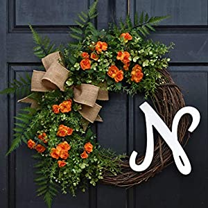 Personalized Orange Mini Rose, Eucalyptus and Mixed Greenery Summer Spring Monogram Wreath with Ferns, Initial Choice and Burlap Bow for Front Door Decor 34