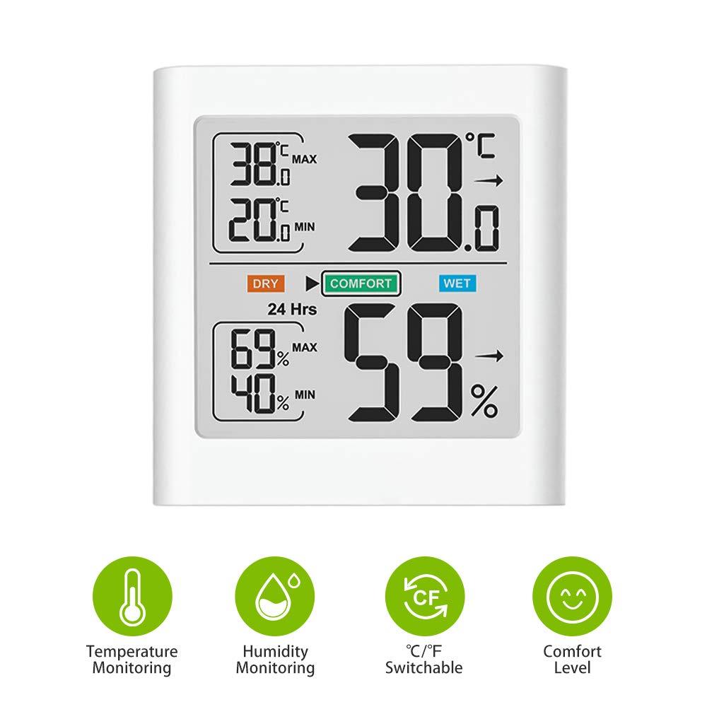 termoigrometro a Lettura accurata per lhome Office Monitor Digitale Portatile della Temperatura e Misuratore di umidit/à con Display LCD White Min//Max Brife Igrometro Termometro Interno