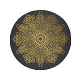 DIYthinker Thai Customs Culture Spread Gold Foil Anti-slip Floor Pet Mat Round Bathroom Living Room Kitchen Door 80cm Gift