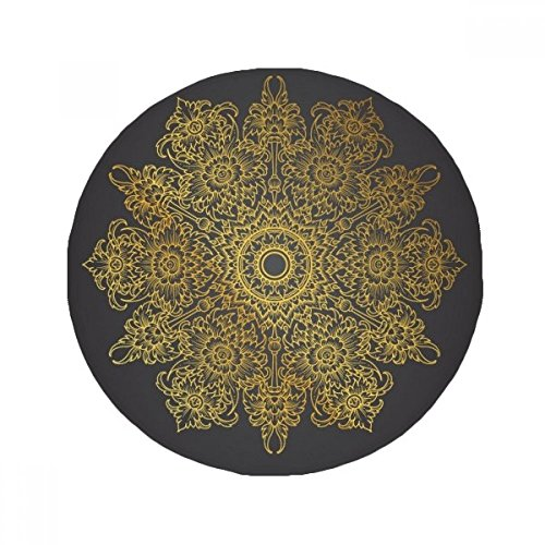 DIYthinker Thai Customs Culture Spread Gold Foil Anti-slip Floor Pet Mat Round Bathroom Living Room Kitchen Door 80cm Gift by DIYthinker