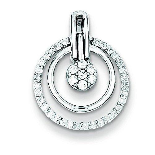 Argent Sterling Rhodium plaqué diamant avec pendentif en forme de cercle Motif JewelryWeb