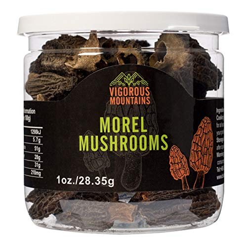 Vigorous Mountains Wild Dried Morel Mushrooms 1 Ounce Morchella Conica 2-4cm Size 1 Oz Sealed Jar Premium Grade AAA