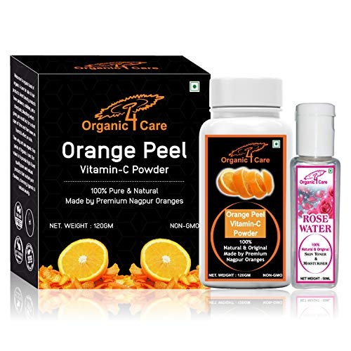 Organic 4 Care orange peel powder for face and skin whitening-120 gm with Rose water-50 ml