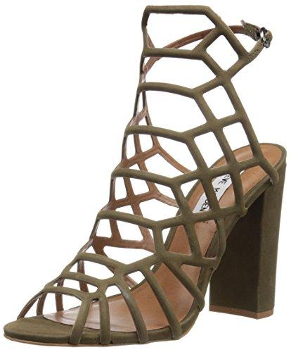 Steve Madden Women's Skales Dress Sandal, Olive Nubuck, 6.5 M US