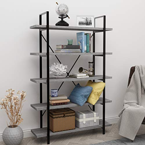 45MinST 5-Tier Vintage Industrial Style Bookcase/Metal and Wood Bookshelf Furniture for Collection,Gray Oak 3/4/5 Tier (5-Tier) (Style Furniture New Vintage)