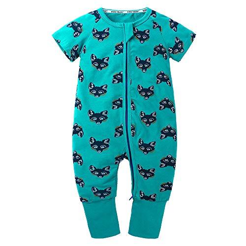 - Kids Tales Baby Boys Girls Zipper Short Sleeve Pajama Sleeper Cotton Romper(Size 3M-3T)