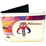 Star Wars The Mandalorian Logo Sublimated Graphic Print PU Faux Leather Men's Bifold Wallet