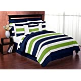Sweet Jojo Designs 3-Piece Navy Blue Lime Green and White Childrens, Kids, Teen Full/Queen Boys Stripe Bedding Set Collection