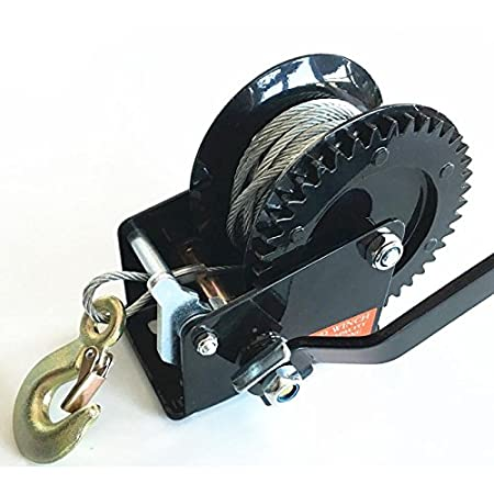 WIN FULL Black 2500LBS 2-Ways Steel Cable Hand Winch Manual Car Boat Camping