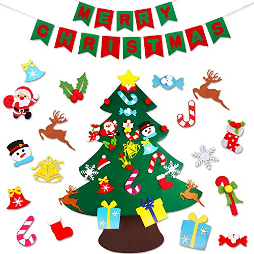 JOKBEN DIY Felt Christmas Tree Set, with Merry Christmas Felt Banner Wall Hanging Christmas Decorations with 26pcs Detachable Ornaments Xmas Gifts for Child ()