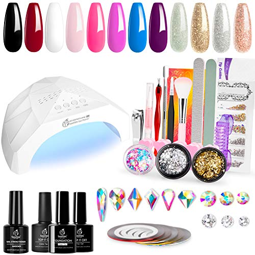 Beetles 12 Colors Home DIY Gel Nail Polish Starter Kit with UV Light 48W LED Nail Lamp Gel Base Top Coat Cure White Pink Red Gel Polish Glitter Powder Nail Art Rhinestone Gems Manicure Gift Box